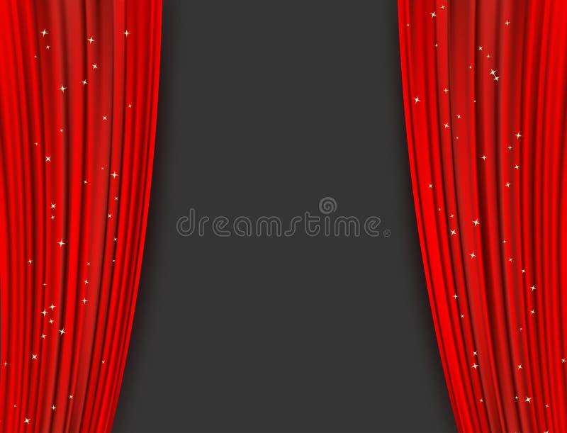Czerwone teatr zasłony z błyskotliwością abstrakcyjny tło ilustracja wektor