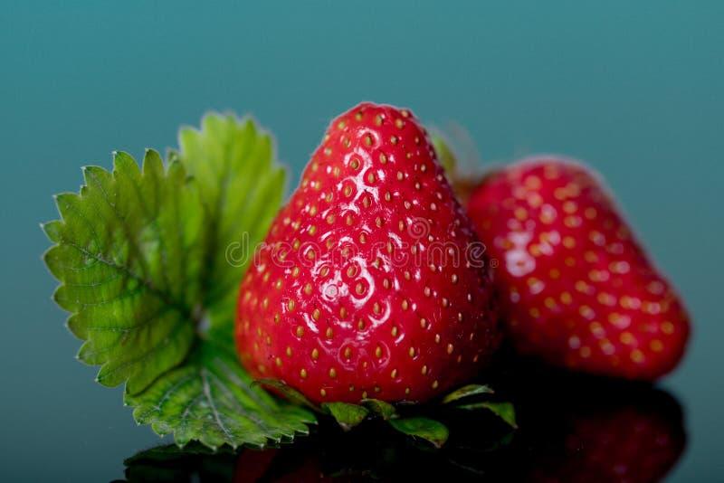 Czerwone truskawki odizolowywać na błękitnym tle obrazy stock