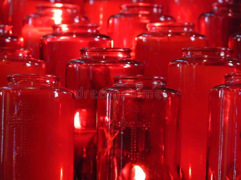 czerwone votives fotografia stock
