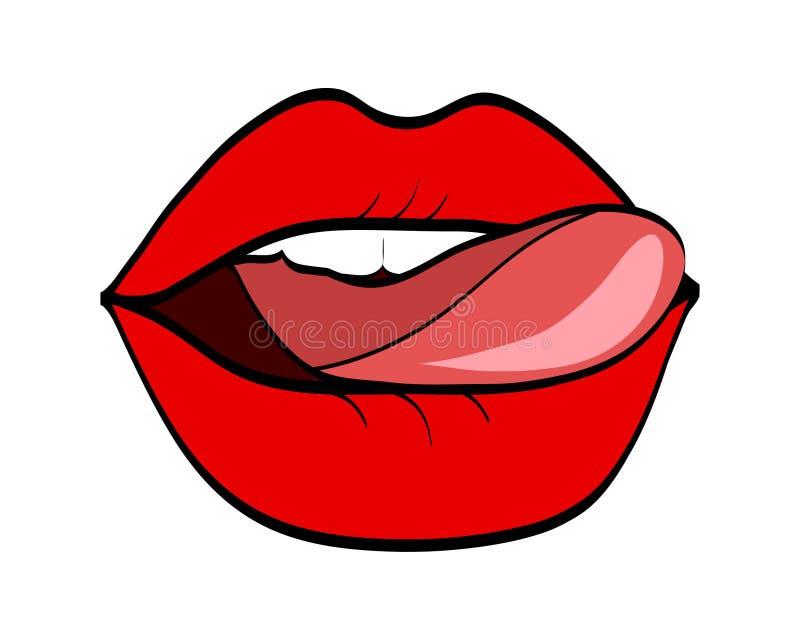 Czerwone wargi i jęzor w wystrzał sztuki komiczki retro stylu, akcyjny wektor ja ilustracji
