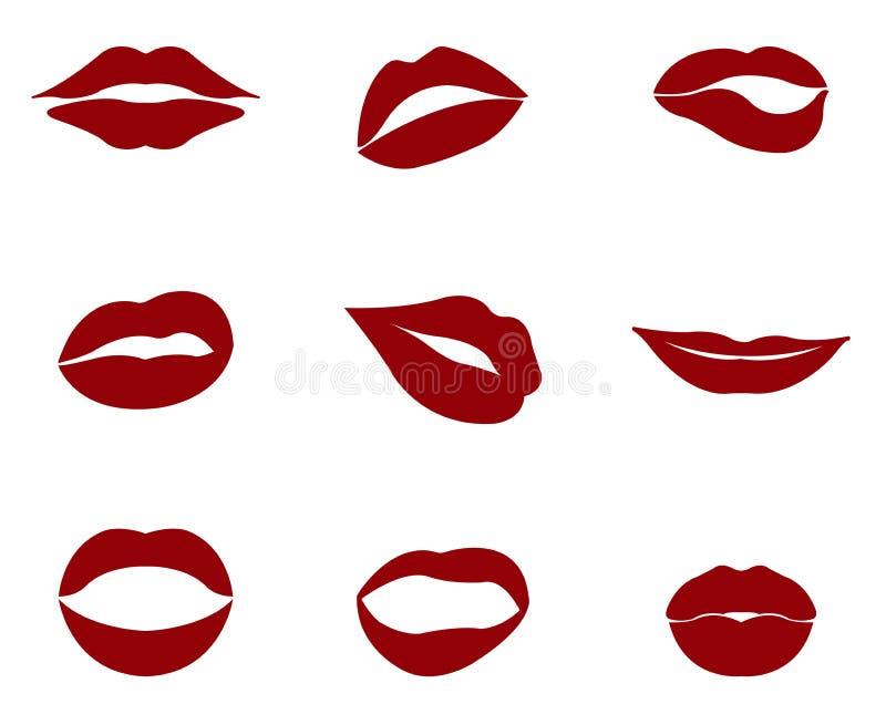 Czerwone wargi ilustrować na bielu royalty ilustracja