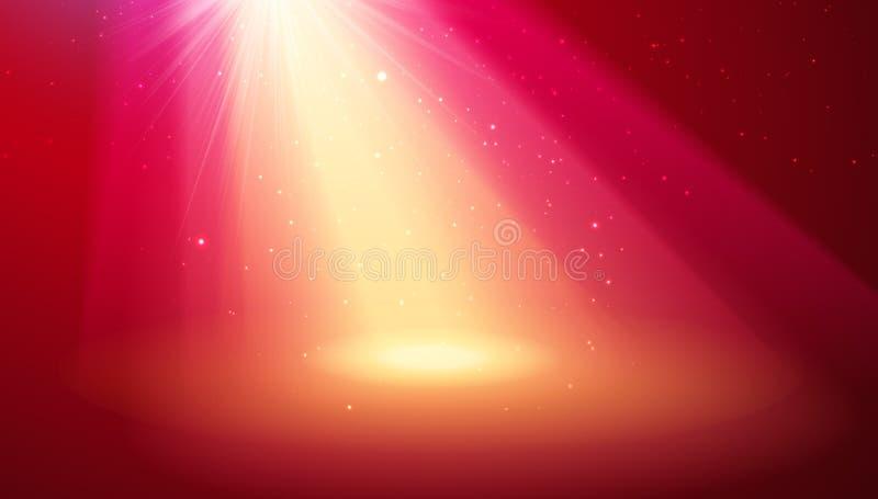 czerwone ?wiat?a Zamazuje promienie z światło reflektorów dla magicznego błyszczącego tła ilustracja wektor