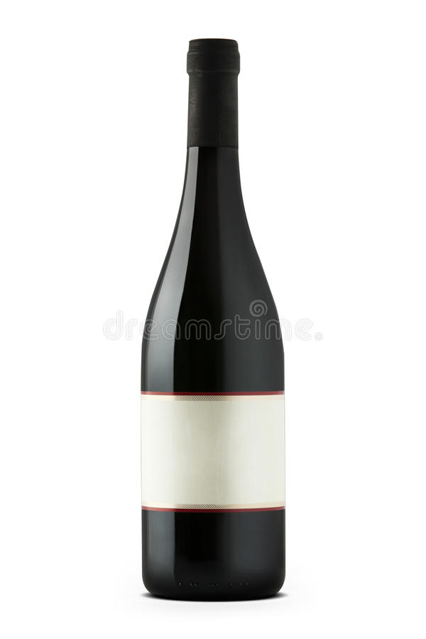 Czerwone wino butelka z pustą etykietą fotografia royalty free