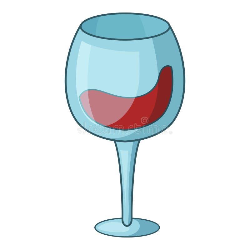 Czerwone wino czara ikona, kreskówka styl ilustracji