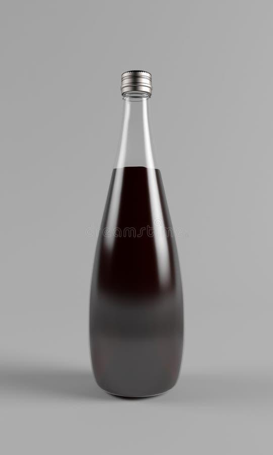 Czerwone Wino Szklana butelka royalty ilustracja