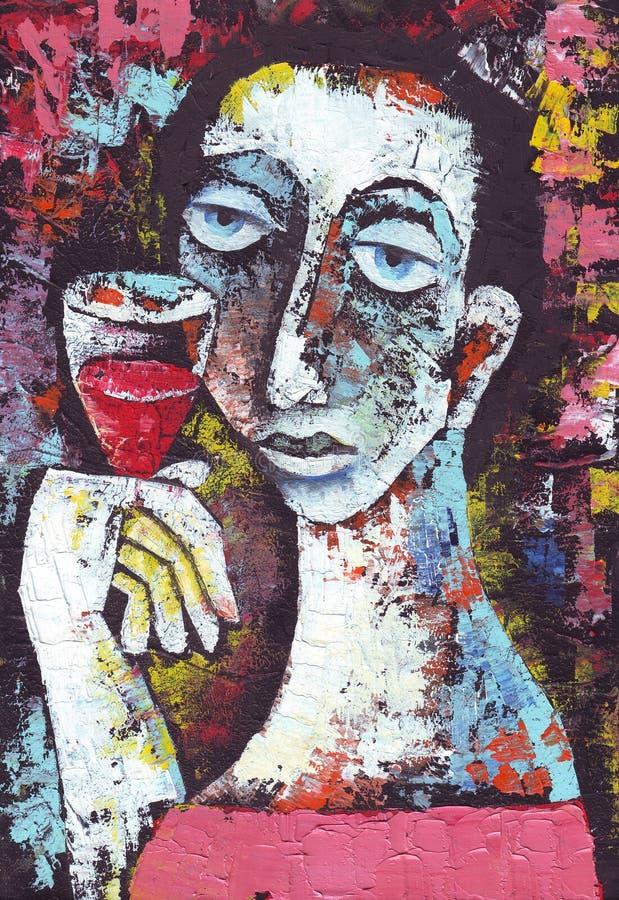 czerwone wino szklana kobieta royalty ilustracja