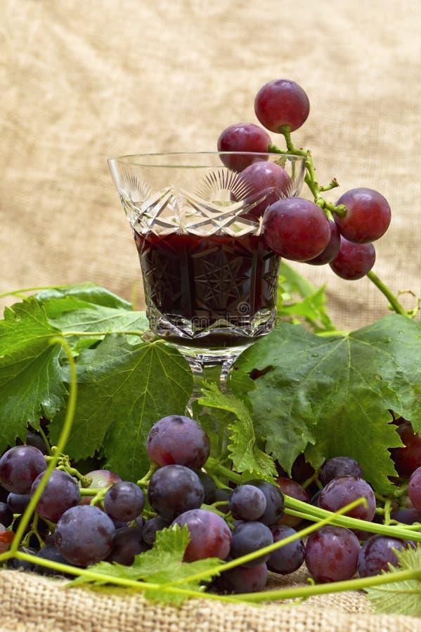 Czerwone wino w wina szkle z słodkimi winogronami. zdjęcia stock