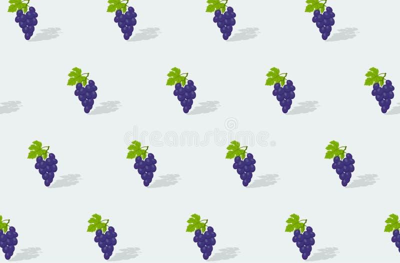 Czerwone winogrona z zielonymi lifami na jasnym tle. bezszwowa tekstura. tło owocu wektorowego ilustracja wektor