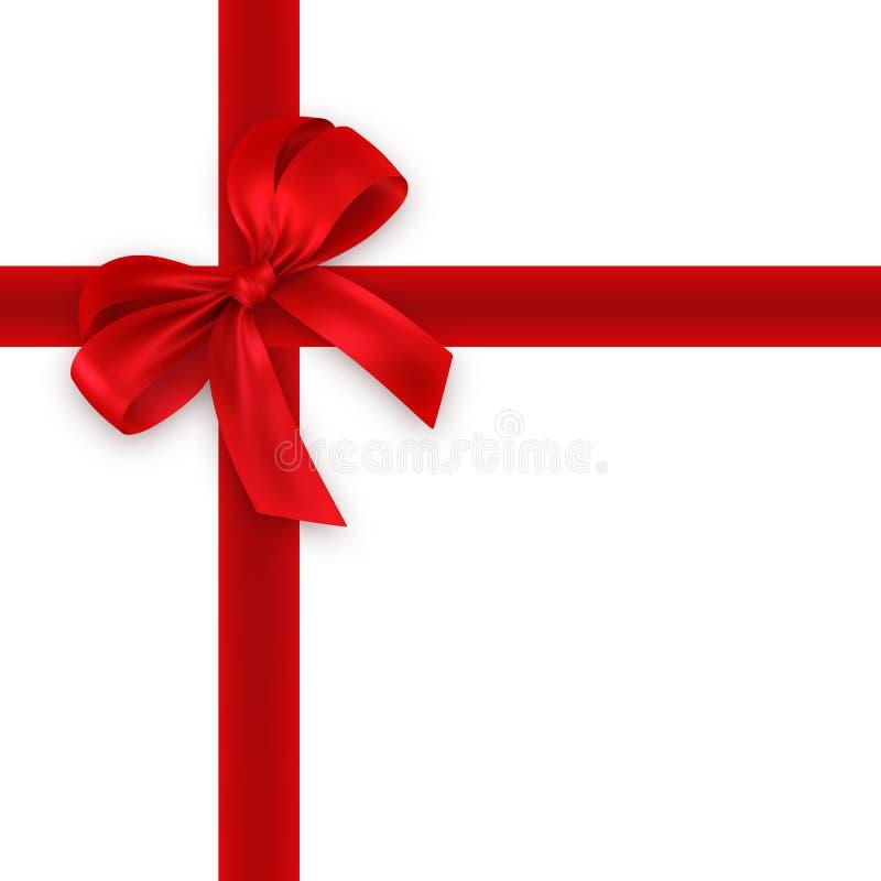 czerwone wstążki dziobu prezent royalty ilustracja