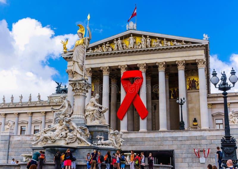 czerwone wstążki wspomaga świadomości, obraz royalty free