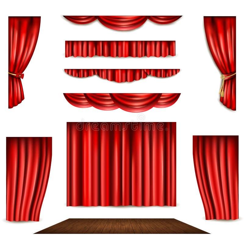 Czerwone zasłony I sceny ikony Ustawiać ilustracji