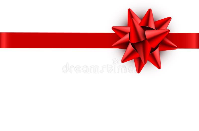Czerwonego łęku atłasowy faborek odizolowywający na białym tle z ścinek ścieżką dla prezenta pudełka opakunku i wakacyjnego karci ilustracja wektor
