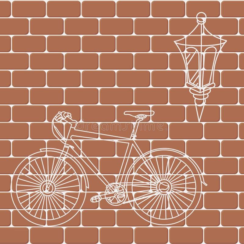 Czerwonego ściana z cegieł bezszwowy Wektorowy ilustracyjny tło - tekstura ilustracji
