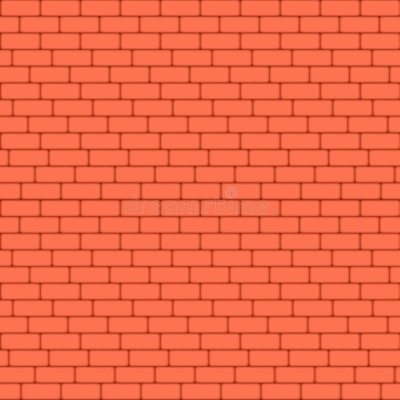 Czerwonego ściana z cegieł bezszwowy Wektorowy ilustracyjny tło - tekstura wzór dla ciągłego replikuje ilustracja wektor