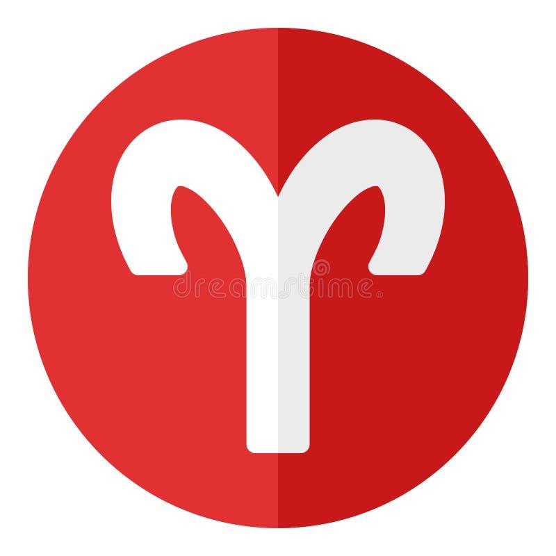 Czerwonego Aries zodiaka znaka Płaska ikona na bielu ilustracji