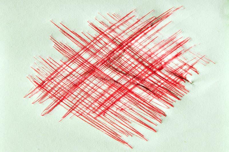 Czerwonego atramentu scratchy tło zdjęcia stock