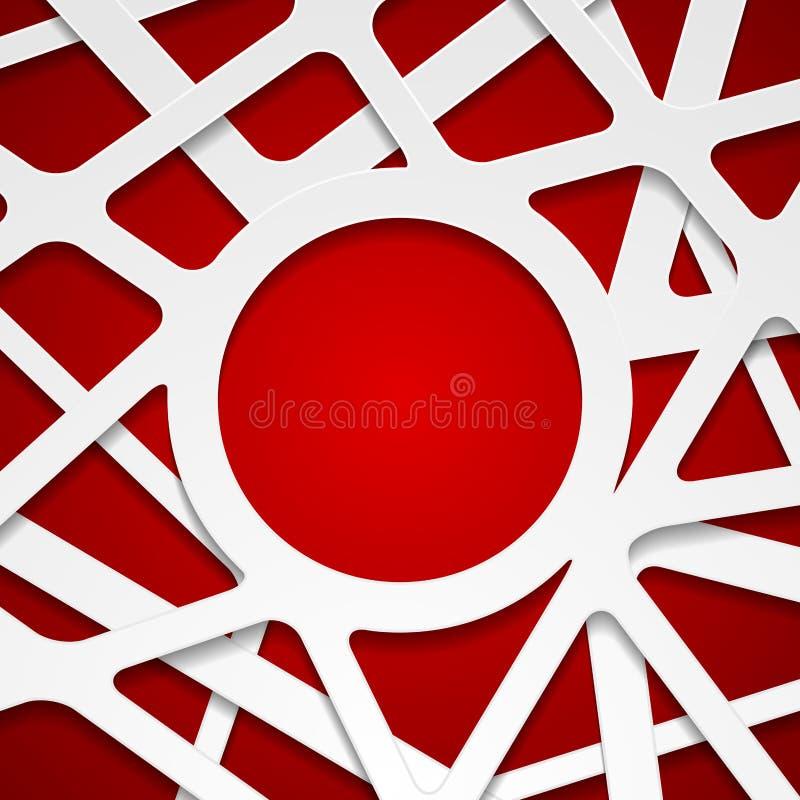 Czerwonego białego abstrakcjonistycznego papercut korporacyjny tło ilustracji