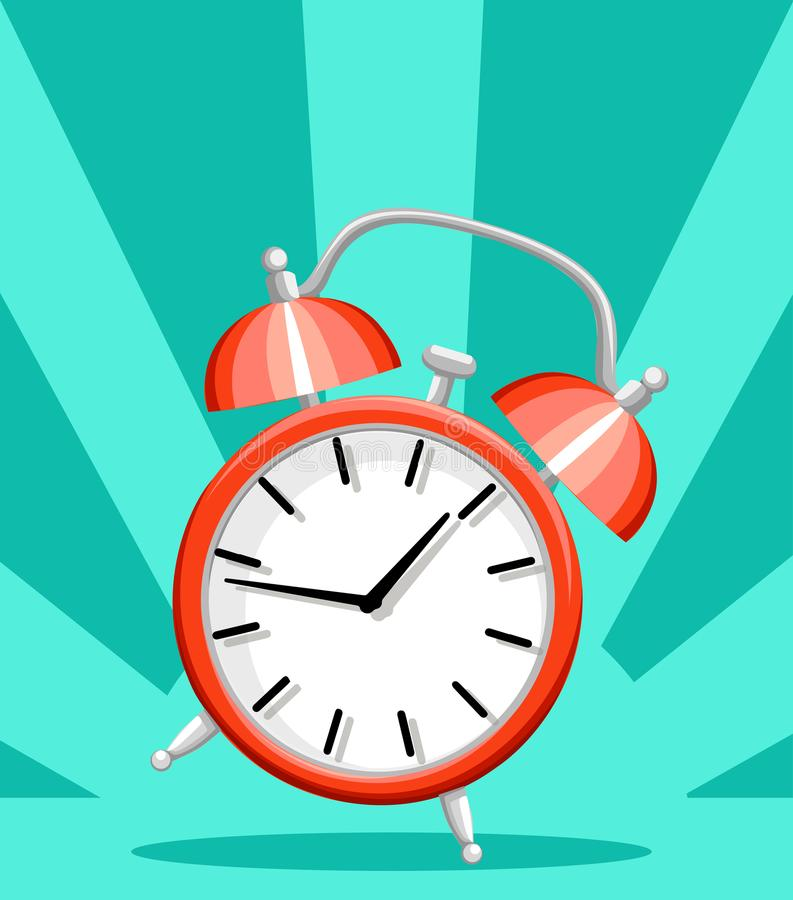 Czerwonego budzika czasu mieszkania budzącego stylu wektorowa ilustracja odizolowywająca na turkusowej tło strony internetowej st fotografia royalty free
