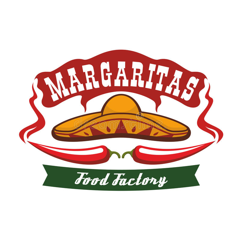 Czerwonego chili pieprz jako wąsy i meksykanina sombrero ilustracja wektor