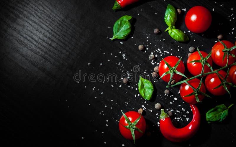Czerwonego chili pieprze, czereśniowy pomidor, basil, czarny pieprz, sól na ciemnym drewnianym tle z kopii przestrzenią Odgórny w zdjęcie royalty free