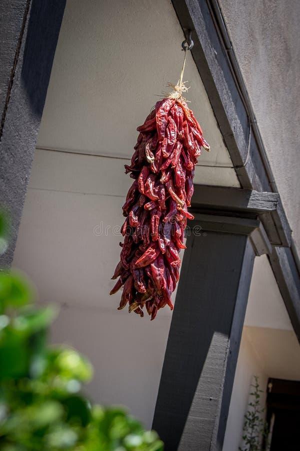 Czerwonego chili pieprze wiesza w na wolnym powietrzu z czarnymi promieniami obrazy stock