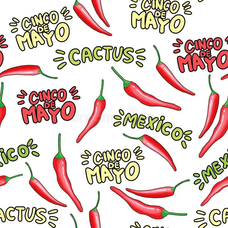 Czerwonego chili pieprzu kresk?wki bezszwowy wz?r ilustracji