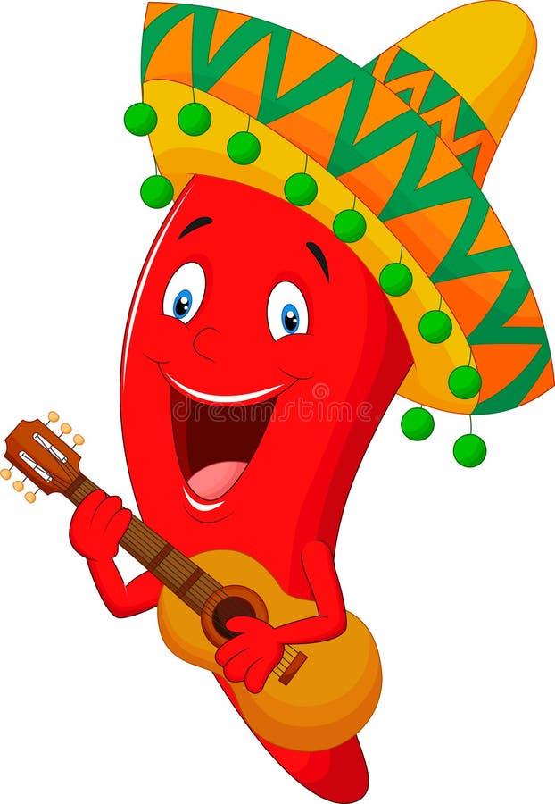 Czerwonego Chili pieprzu postać z kreskówki ilustracja wektor