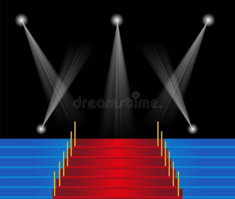 Czerwonego chodnika schody tło ilustracji