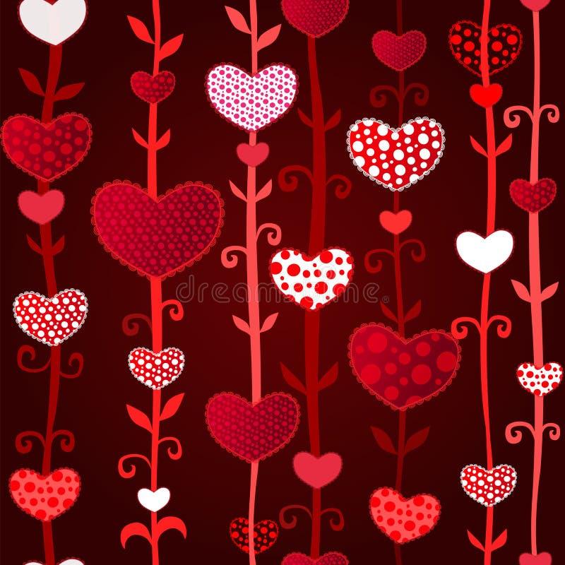 Czerwonego Ciemnego miłości Valentin's dnia Bezszwowy wzór ilustracji