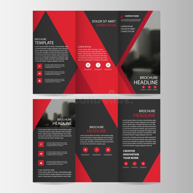 Czerwonego czarnego trójbok ulotki broszurki ulotki raportu biznesowego trifold szablonu projekta wektorowy minimalny płaski set, ilustracji