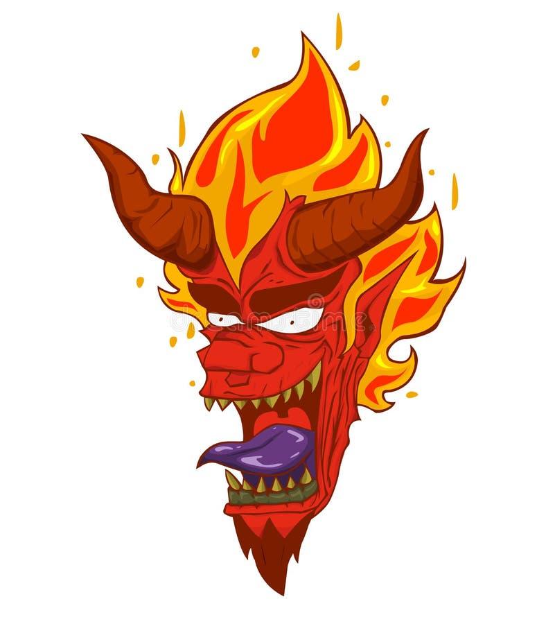 Czerwonego diabła głowy ilustracja i wektor Potwór w Halloweenowej nocy ilustracji