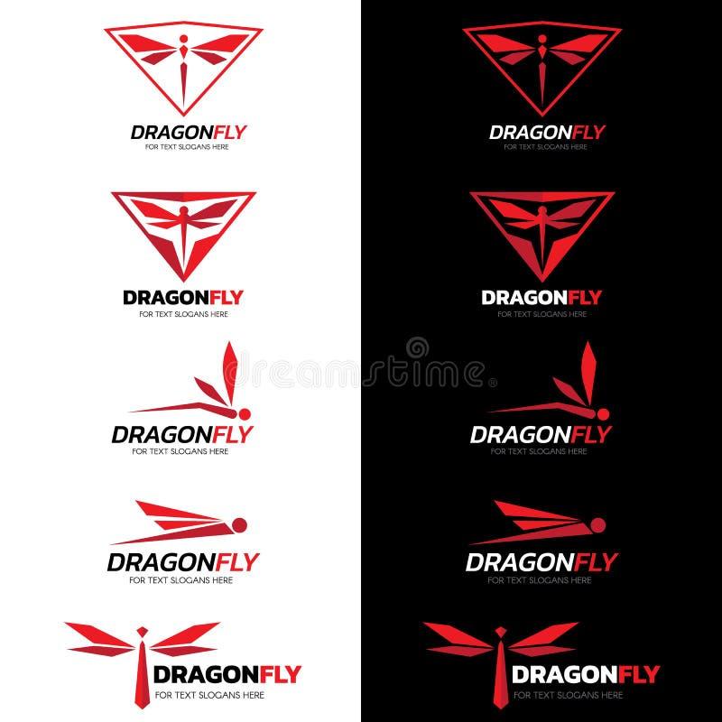 Czerwonego Dragonfly loga wektoru sztuki ustalony projekt royalty ilustracja