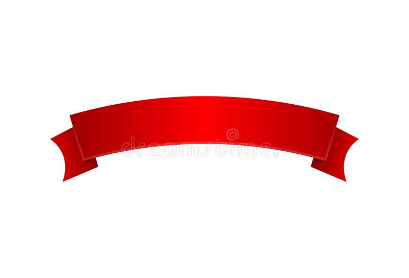 Czerwonego eleganckiego atłasowego faborku odosobniona ikona royalty ilustracja