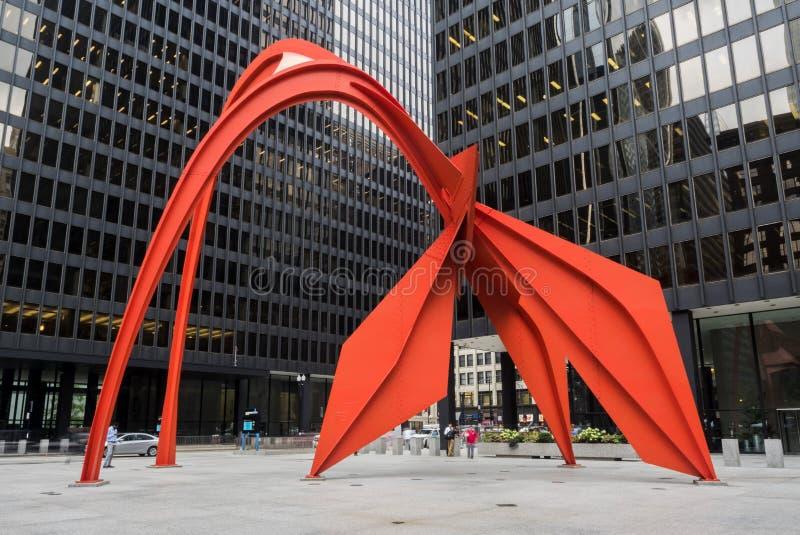 Czerwonego flaminga miasta Chicagowski życie na Czwartku, 3rd Sierpień, 2017 - Chicago, Illinois zdjęcia royalty free