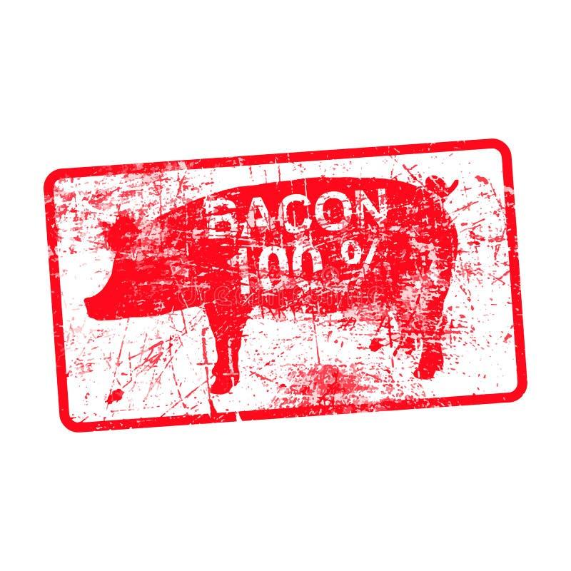 Czerwonego grunge brudna prostokątna pieczątka z świniowatą sylwetką royalty ilustracja