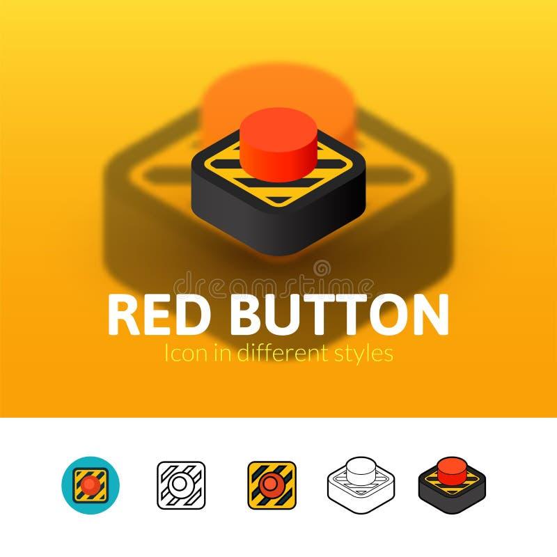 Czerwonego guzika ikona w różnym stylu ilustracji