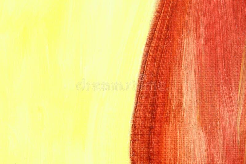 Czerwonego i żółtego obrazu olejnego tła abstrakcjonistyczna tekstura zdjęcie royalty free