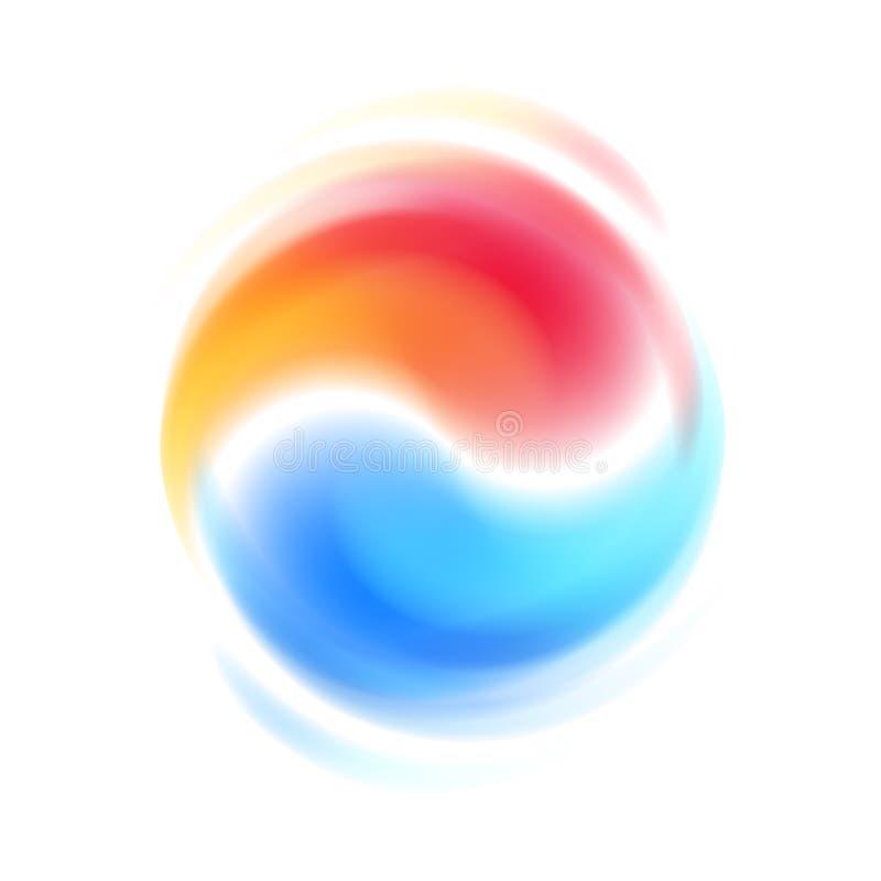 Czerwonego i błękitnego przeciwieństwo współpracy abstrakcjonistyczny symbol ilustracja wektor