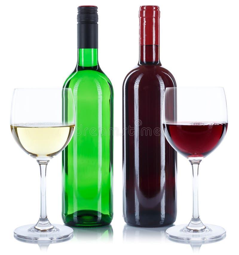 Czerwonego i białego wina butelek napoju szkieł kwadrat odizolowywający na w obraz stock