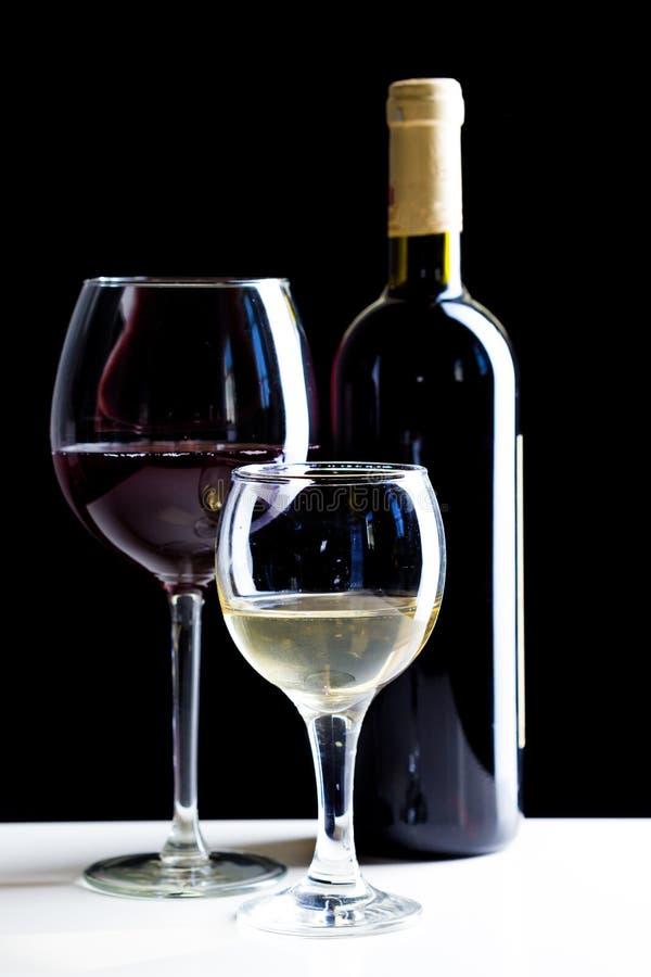 Czerwonego i Białego wina szkło zdjęcie royalty free