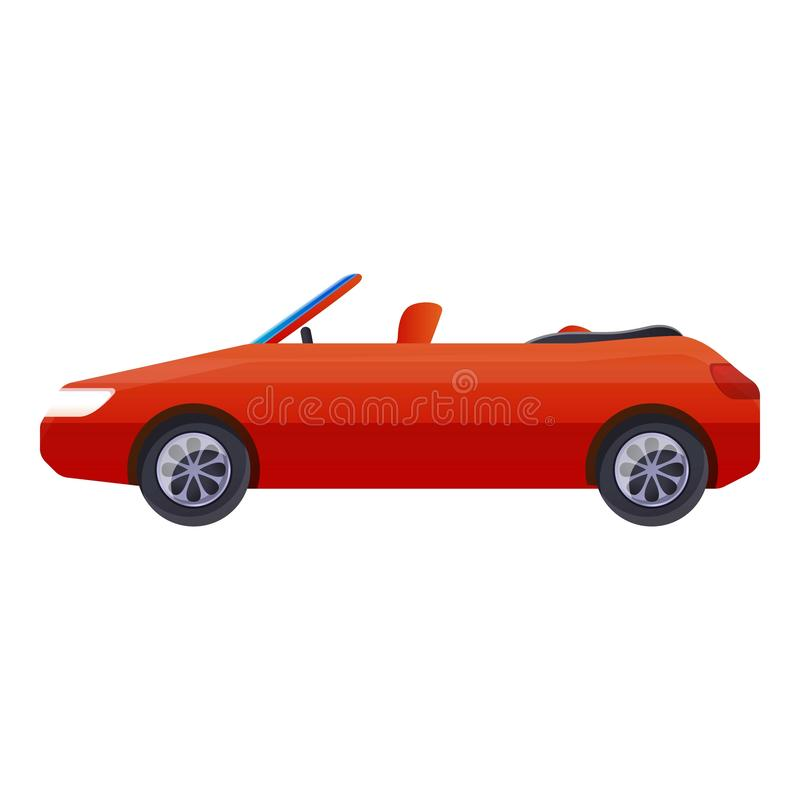 Czerwonego kabrioletu samochodowa ikona, kreskówka styl ilustracja wektor