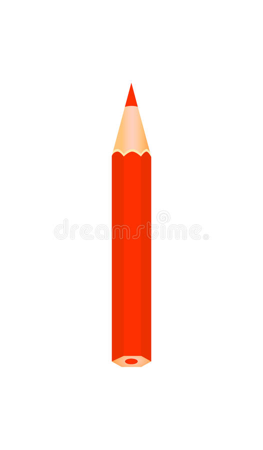 Czerwonego koloru drewniany ołówek royalty ilustracja