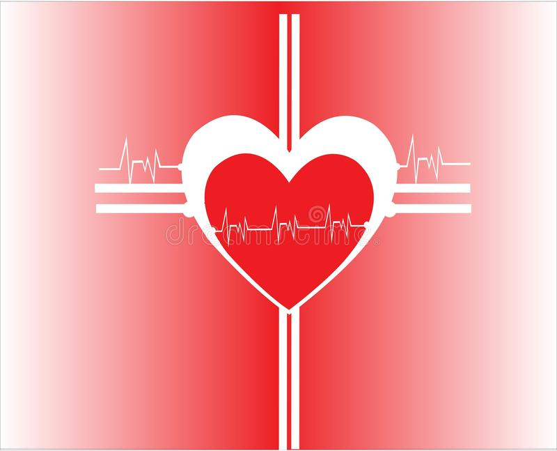 Czerwonego koloru serce z pulsem zdjęcie royalty free