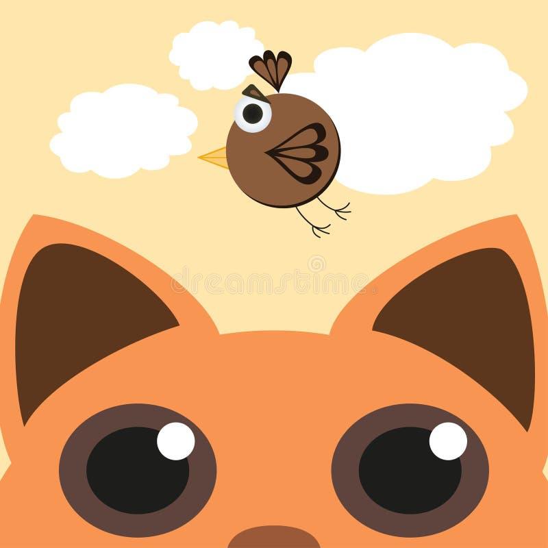 Czerwonego kota Przyglądający Up I polowanie Dla Ptasiego latania W niebie również zwrócić corel ilustracji wektora ilustracji