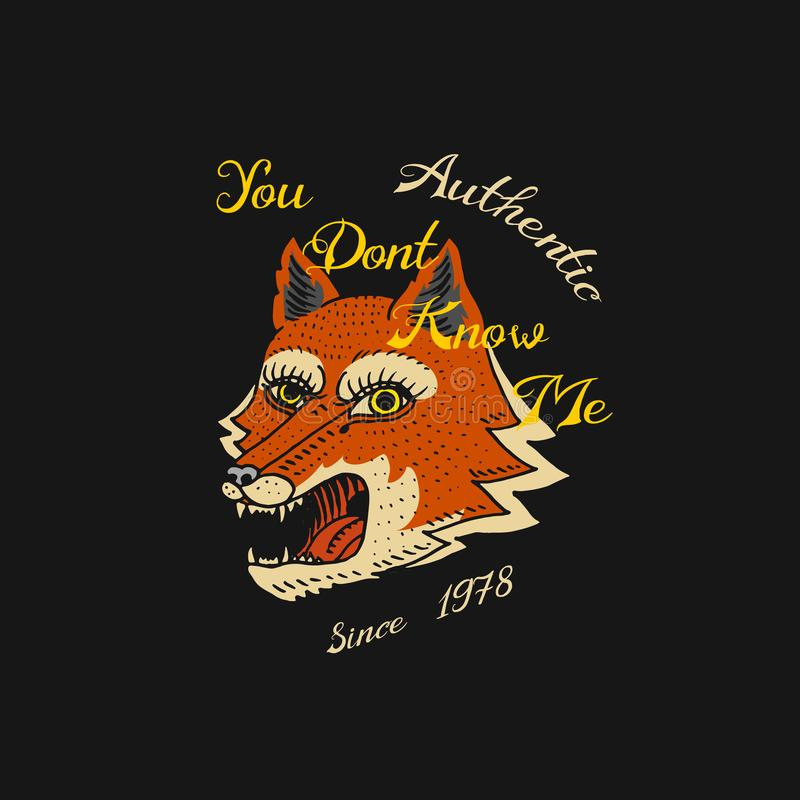 Czerwonego lisa logo dla koszulki Stawia czoło lub głowa dzikie zwierzę drapieżnik dla sztandaru lub plakata Portreta Japoński st ilustracja wektor