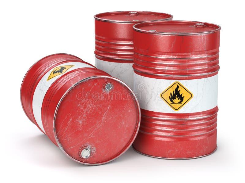Czerwonego metalu nafciane baryłki odizolowywać na białym tle Olej, gaz, przemysł naftowy i produkcja, royalty ilustracja