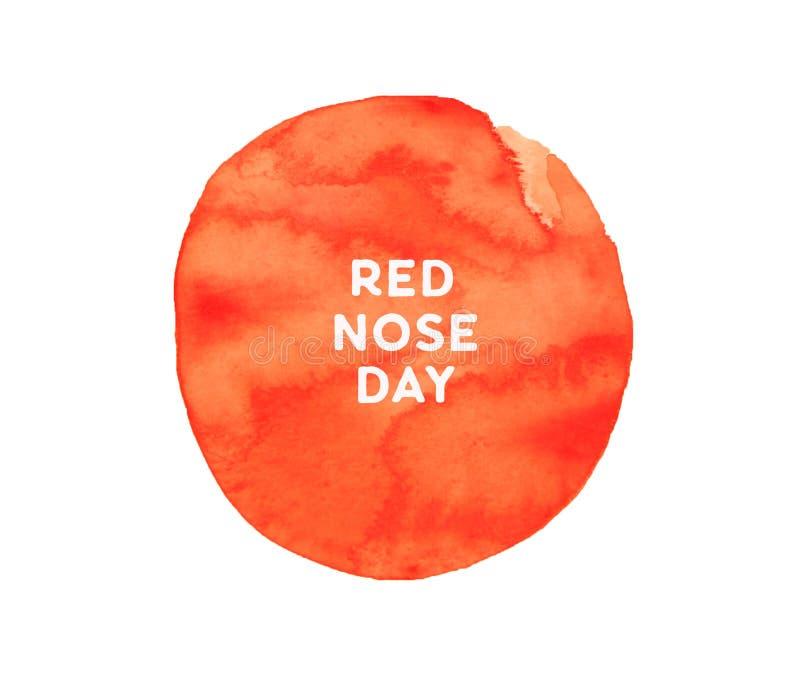 Czerwonego nosa dnia akwareli brushy plakat, okręgu skład, kwadratowy format royalty ilustracja