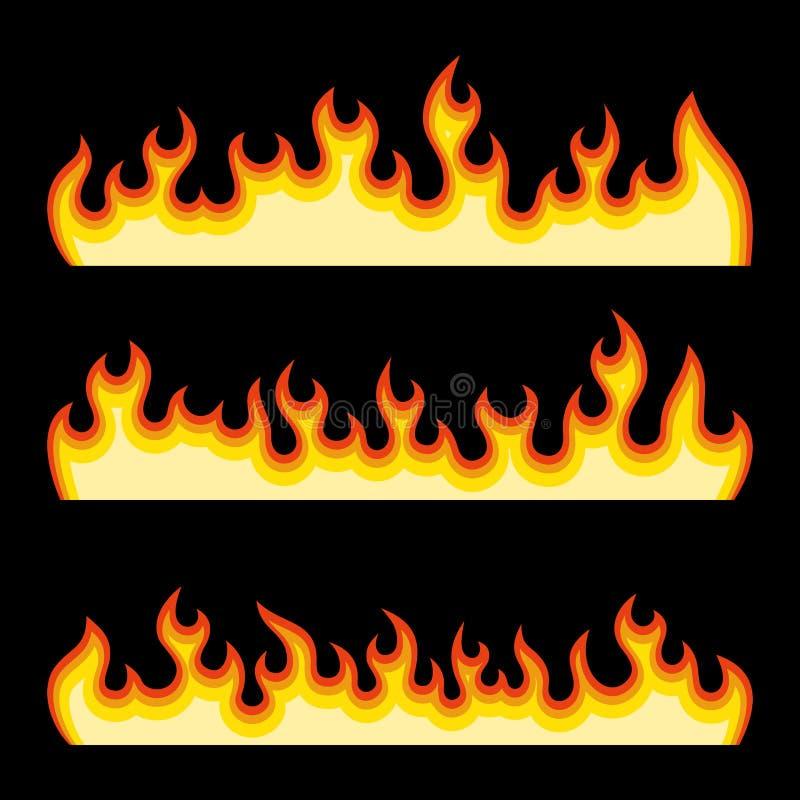 Czerwonego ogienia palenia płomienie Ustawiający na Czarnym tle wektor royalty ilustracja