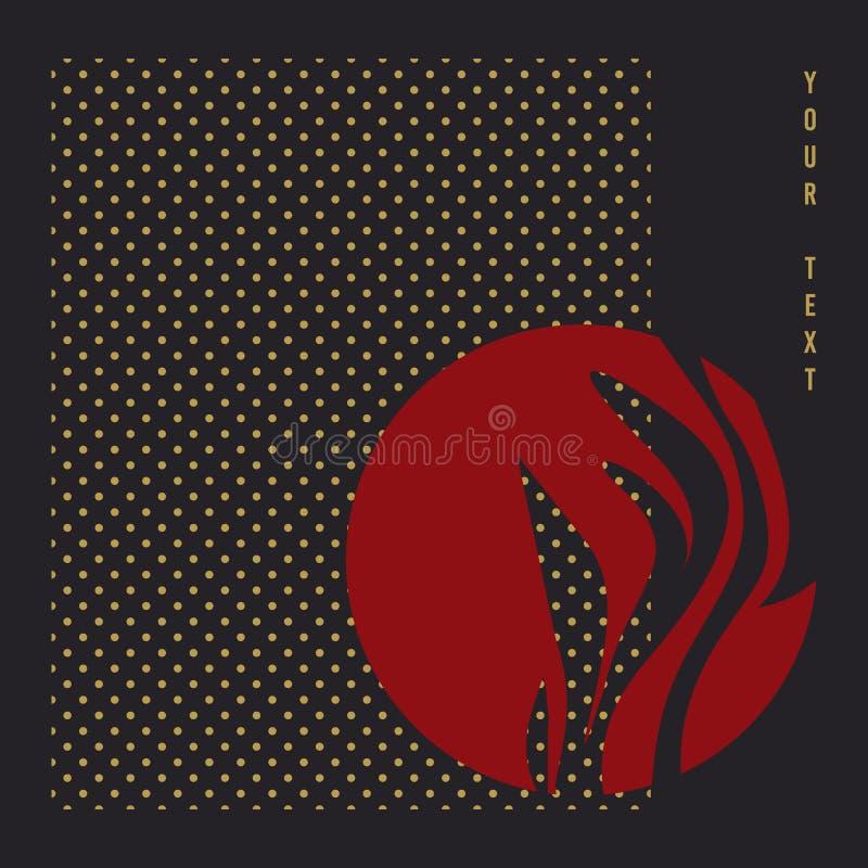 Czerwonego okręgu i czarnego tła azjatykci pędny wektor ilustracji