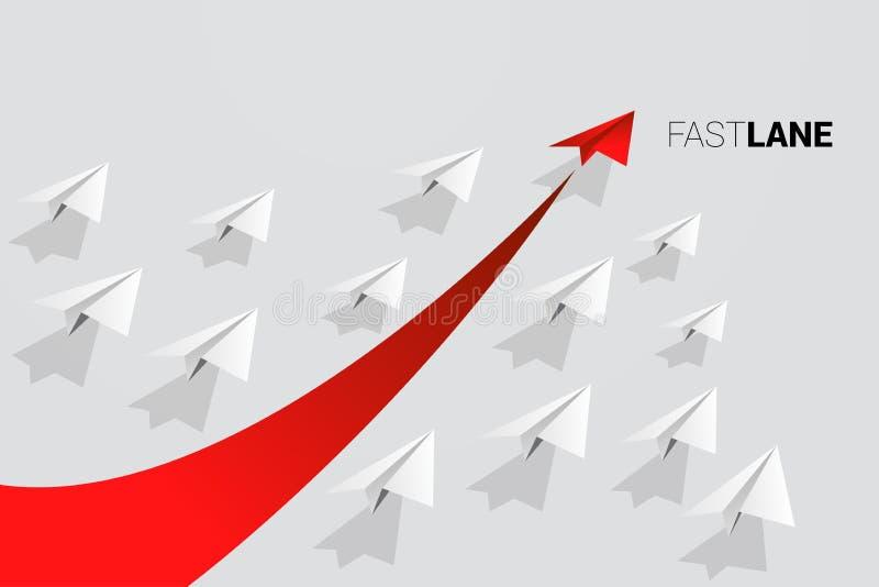 Czerwonego origami papierowy samolot jest ruchem szybkim niż grupa biel ilustracji